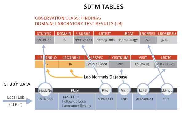 Figure 2. Summary of conversion of study data to SDTM format. The bottom table shows the source data that comes from the CRF into SCHARP's study database. The top two tables show how the data elements from the study database and metadata from a local lab reference range database (lab normals) are mapped onto the SDTM tables.